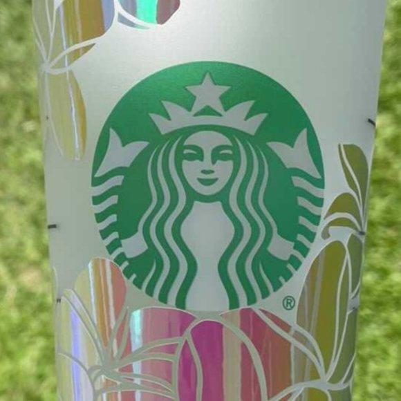 New Starbucks 24oz Reusable Cold Plumerias